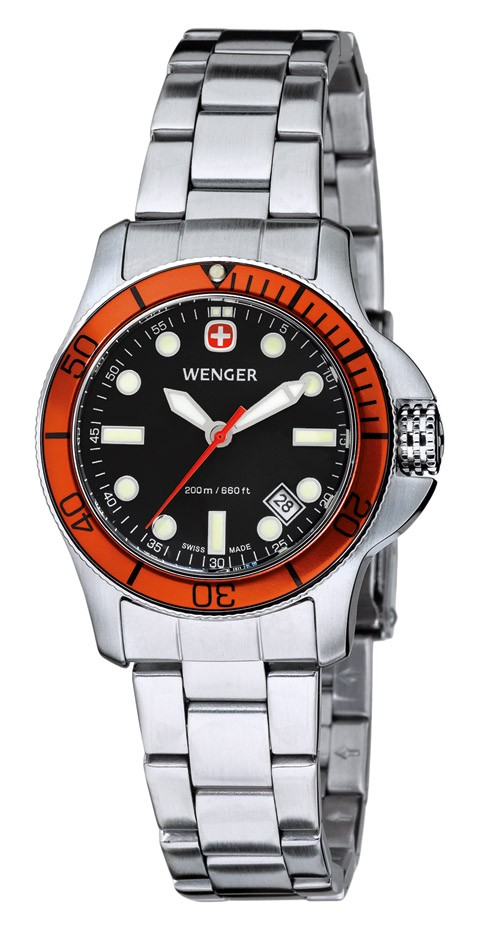 Wenger Watch New Battalion Diver 72339, 200m, black dial, orange